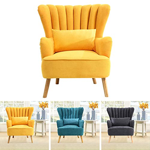 INMOZATA Accent Chair Linen Fabric Occasional Tub Chair Arm Rest Shell High Back Armchair for Living Room Bedroom Reading Chair (Yellow)