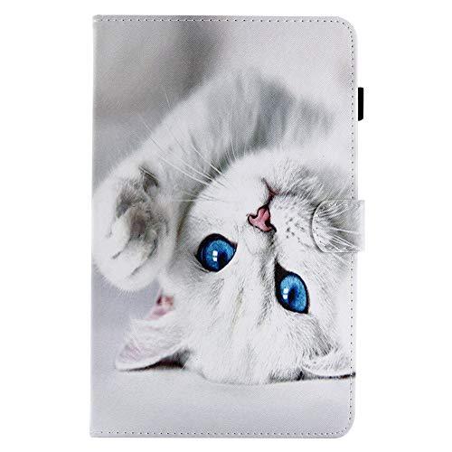 Coopay Animals Pouch Funda de cuero PU para tableta Samsung Galaxy Tab A 10.1 '(2016) SM-T580 / T585 Cat White Flip Pattern Flap Funda protectora magnética rígida con función de soporte