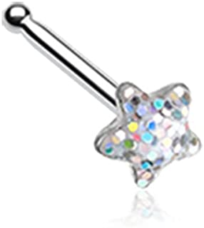 Star Glitter Sparkle 316L Surgical Steel Nose Stud Ring (Sold Individually)