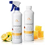 Amazy Kit de limpieza para cuero – Limpiador y bálsamo para cuero (500 ml cada uno) | Kit universal para limpieza, cuidado y sellado de piel de coche, zapatos de cuero, sofás, etc.