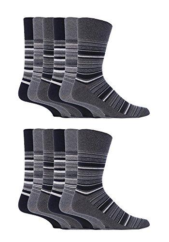 Gentle Grip - 12 paar Herren Ges&heitssocken Diabetiker Druckfreie Spitze Handgekettelt Baumwollanteil Socken Quadrate 4 Farben 39-45 eur, 12 x RG53 (12-14) Brown, 39/45