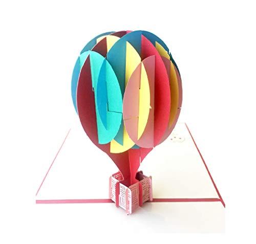 Pop up Birthday Card Designer Pop up Cards - Make him smile instantly with surprising 3D Blank Cards with Envelopes Card Birthday Card Note cards with envelopes Thank you card (1 Card, Hot Balloon)