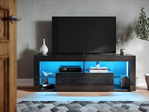 SONNI Lowboard Schwarz Hochglanz 140cm, TV Schrank Glas, mit LED Beleuchtung