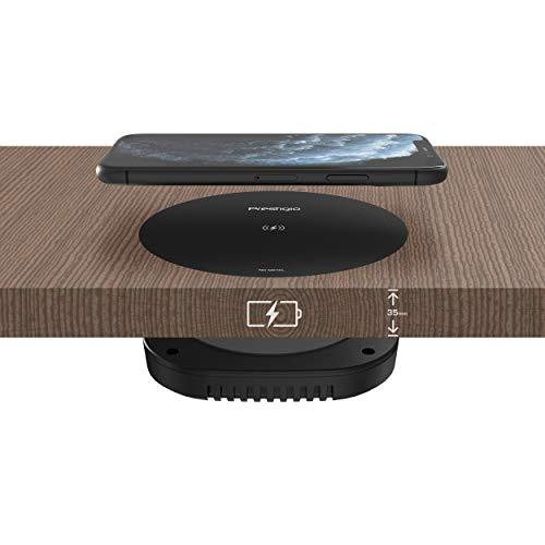 Prestigio Revolt A3 - Drahtloses Ladegerät zum Ankleben - Wireless QI Charger für Handy, Smartwatch und Kopfhörer - Induktives Ladegerät - 10W, 24V - Schwarz
