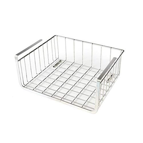 MSF bestek rekken onder plank opslag mandje, onder kabinet opslag plank draad mand organisator, voor keuken Pantry Bureau boekenplank kast, Premium Anti Roest roestvrij staal rack - zilver