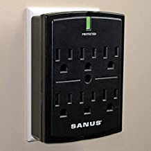 SANUS On-Wall Low Profile 1080J Fireproof Surge Protector with 6 AC Outlets & 3 Lines of Protection - Includes Power Signal Filtering