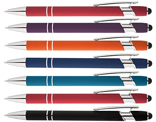 Rainbow Rubberized Soft Touch Ballpoint Pen with Stylus Tip a stylish, premium metal pen, black ink, medium point. Box of 7 (ASSORTMENT)