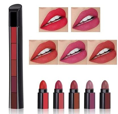 M H Collection 5in1 Color Sensational Creamy Matte Beauty Lipstick (5 Shades In1) (Multi color, 7.5 g)