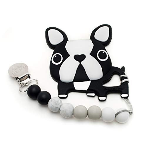 Loulou Lollipop Boston Terrier Soft Silicone Teether - Premium Baby Teether Toy with Holder Set Massaging Teether