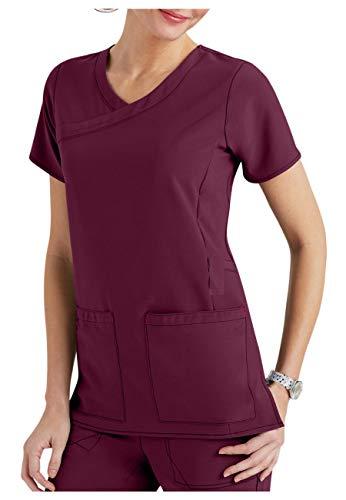 Smart Uniform Cross-Flex Oberteil mit 3 Taschen, Y-Ausschnitt Gr. Small, wein