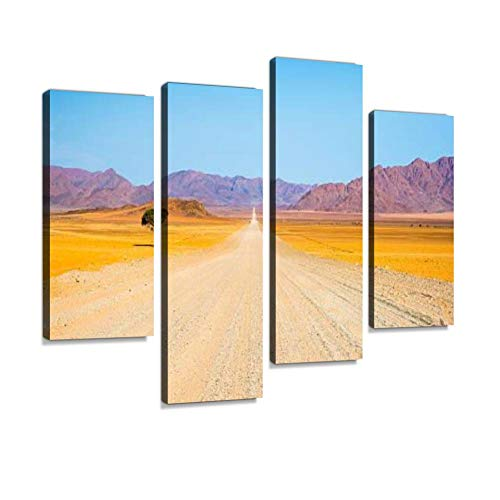Gravel Road Crossing The Namib Desert, Namibia, Africa Canvas Wall Art Hanging Paintings Modern Artwork Abstract Picture Prints Home Decoration Gift Unique Designed Framed 4 Panel