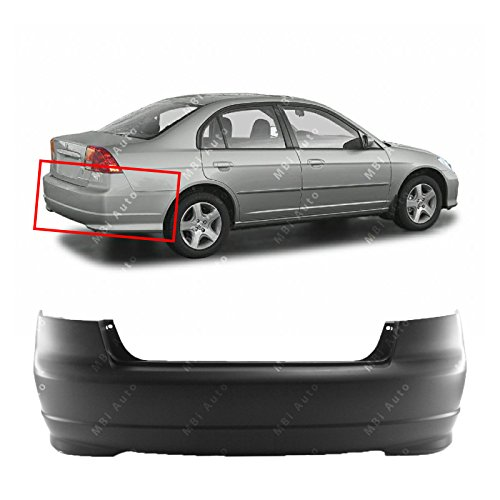 MBI AUTO - Primered, Rear Bumper Cover for 2004 2005 Honda Civic Sedan 04 05, HO1100217