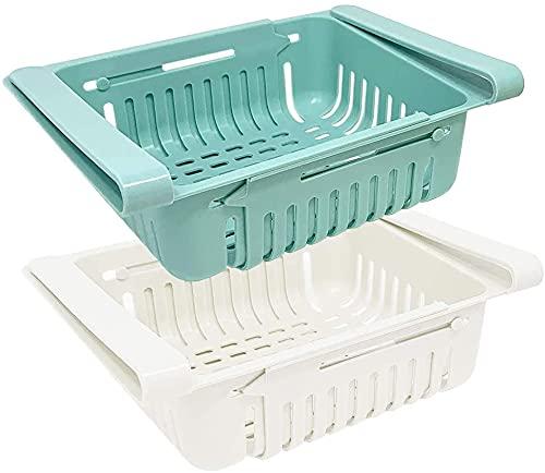 Set di 2 organizer frigorifero | Contenitori per frigorifero in plastica | Organizer cucina frigo box (blu, bianco, rosa, beige)