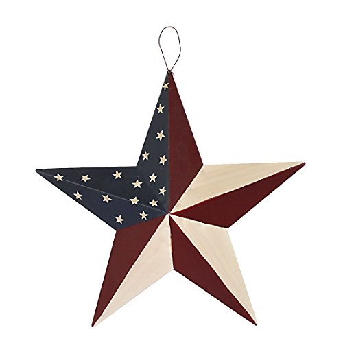 WHY Decor Americana Metal Barn Star, American Patriotic Star Wall Decoration Outdoor Indoor Hanging Wall Decor Star Ornament Christmas Home Decor 12inch (American Barn Star-C)