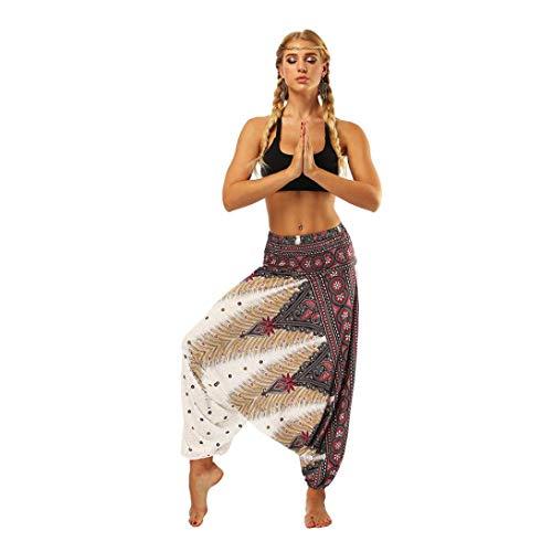 Männer und Frauen Lose Große Hosen Strampelhöschen Yoga-Hose-Haremshose Jogginghose Pilates Freizeithosen Weiche -Zwei Tragen Schritthose Baggy Boho Aladin Overall Haremshose(Weiß,freie Größe)