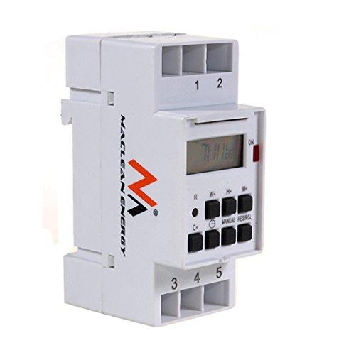 Maclean MCE09 - Programador/temporizador eléctrico digital semanal tipo carril DIN 16A 220V (1)