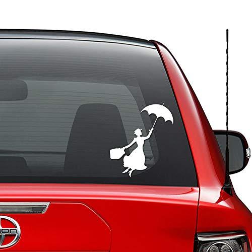 Mary Poppins Paraplu Vliegende Vinyl Sticker Auto Vrachtwagen Voertuig Bumper Venster Muurdecoratie Helm Motorfiets en Meer - (Maat 9 inch / 23 cm Hoog) - Kleur (Glanzend Wit)