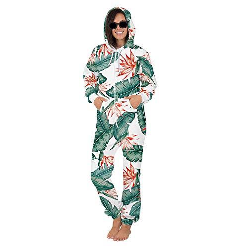 Surwin Sudadera con Capucha de Hombre, Unisexo Trabajo Jumpsuit Pijama en Una Sola Pieza Manga Larga Impresin 3D Cierre de Cremallera Playsuit Adulto (Hoja de Banana,L)