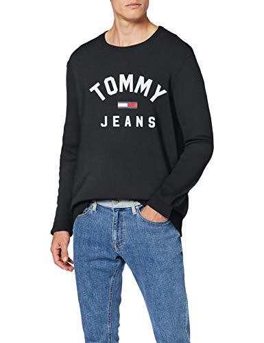 Tommy Jeans Herren TJM Essential Flag Crew Sweatshirt, Schwarz (Tommy Black Bbu), Large (Herstellergröße:L)