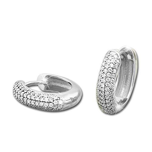 SilberDream SDO4311W - Pendientes de plata 925 con circonita blanca, 5 filas, para mujer