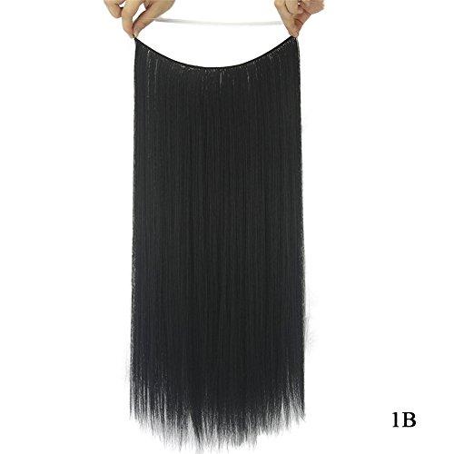 Extensions de cheveux synthétiques raides Remeehi sans clip sans ruban adhésif 28 cm 80 g (1B)
