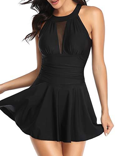 FLYILY Damen-Badeanzug mit hoher Taille Badeanzug mit Shorts Retro-Beachwear Neckholde Bademode(Black,M)