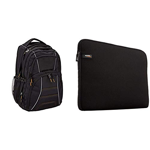 AmazonBasics Laptop Computer Backpack (Black) & Laptop Sleeve for 13.3-Inch Laptop / MacBook Air / MacBook Pro / MacBook Pro Retina Display Black