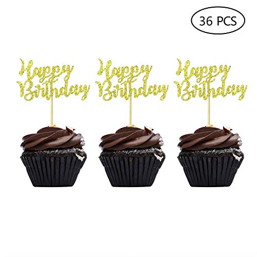 Speed Sell EU 36 Stücke Geburtstag Kuchen Topper Happy Birthday Cupcake Pick für Party Dekoration