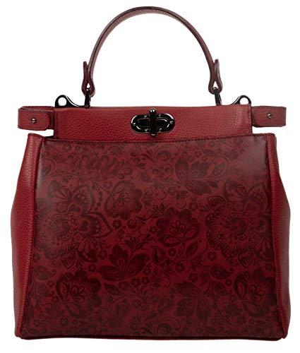 Shirin Sehan Bolso de mano de piel auténtica para mujer, con asa, para el hombro, Carmela, rojo floral, estampado plateado, fabricado en Italia