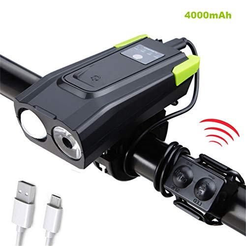 ZUEN Fahrrad-Licht mit Horn, USB aufladbare Fahrrad-Scheinwerfer-Fahrrad-Licht vorne 800 Lumen LED Fahrrad-Licht-wasserdicht für Outdoor Sport,4000mAh