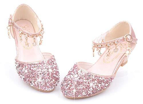 LCXYYY Kinder Mädchen Festlich Hochzeit Elegant Bogen Tanzschuhe Studenten Ballerina Prinzessin Sandalen Schuhe Absatz-Schuhe Sohlen Sandalette Karneval Party Flacher Schuhe PU Lederschuhe