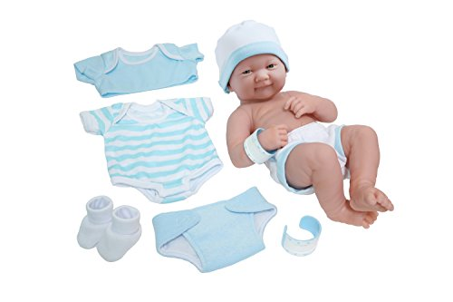 "8 piece Layette Baby Doll Gift Set | JC Toys - La Newborn Nursery | 14"" Life-Like Smiling Newborn Doll w/ Accessories 