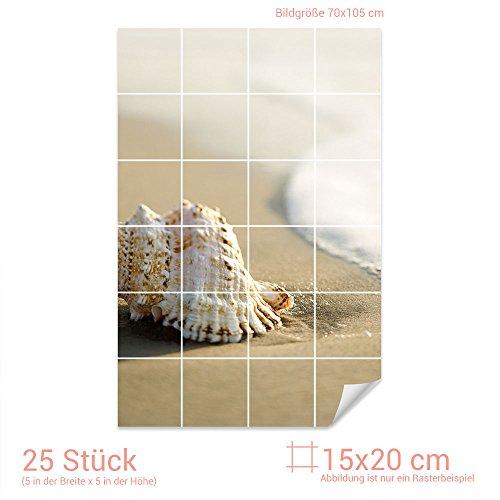 GRAZDesign Fliesenaufkleber Muschel/Strand für Kacheln Bad-Fliesen mit Fliesenbildern überkleben (Fliesenmaß: 15x20cm (BxH)//Bild: 70x105cm (BxH))