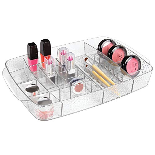 Price comparison product image iDesign Makeup Organiser,  Plastic Cosmetics Organiser Tray with 27 Compartments for Bathroom Accessories,  Jewellery and Cosmetics,  Clear