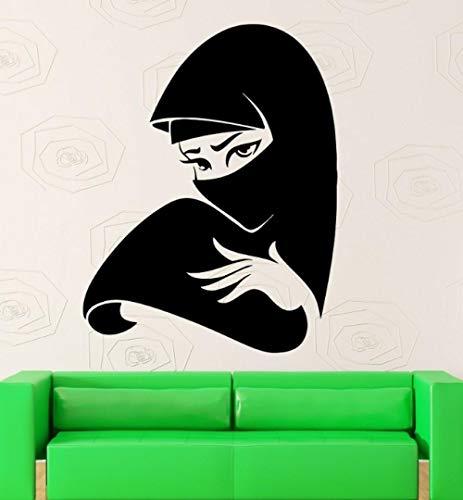 Muurstickers muurschildering mooie meisje sjaal Home Art Vinyl woonkamer slaapkamer muurschildering 42×55 cm