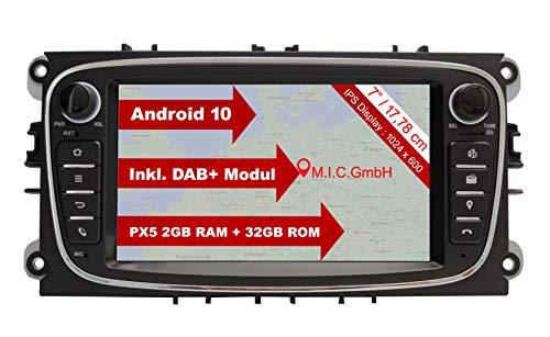 M.I.C. AF7-Lite Android 10 Autoradio mit Navi Navigation Ersatz für Ford Focus mk2 Mondeo Cmax Galaxy Smax : DAB Plus Bluetooth 5.0 WiFi 2 din 7' IPS Bildschirm 2G+32G USB sd rückfahrkamera mirrorlink