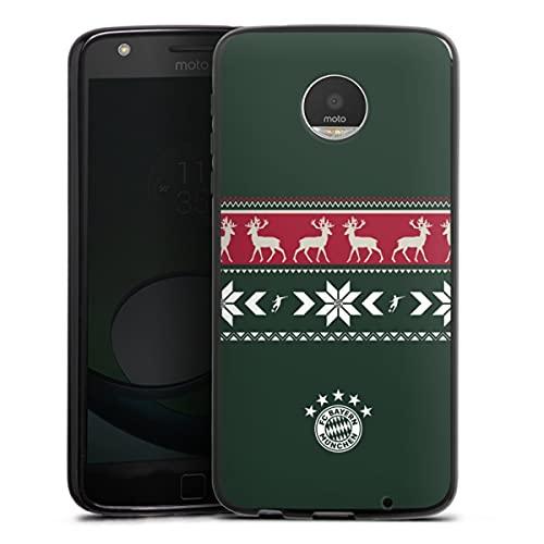DeinDesign Silikon Hülle kompatibel mit Lenovo Moto Z Play Hülle schwarz Handyhülle FC Bayern München Weihnachten FCB