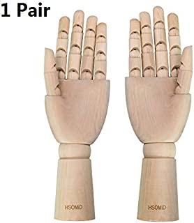 HSOMiD Flexible Wooden Hand Model Moveable Wooden Artists 10 Inches Hand Model for Sketching Drawing Painting Home Office Desk Decoration(10 Inch Left and Right Hand) 1 Set (10