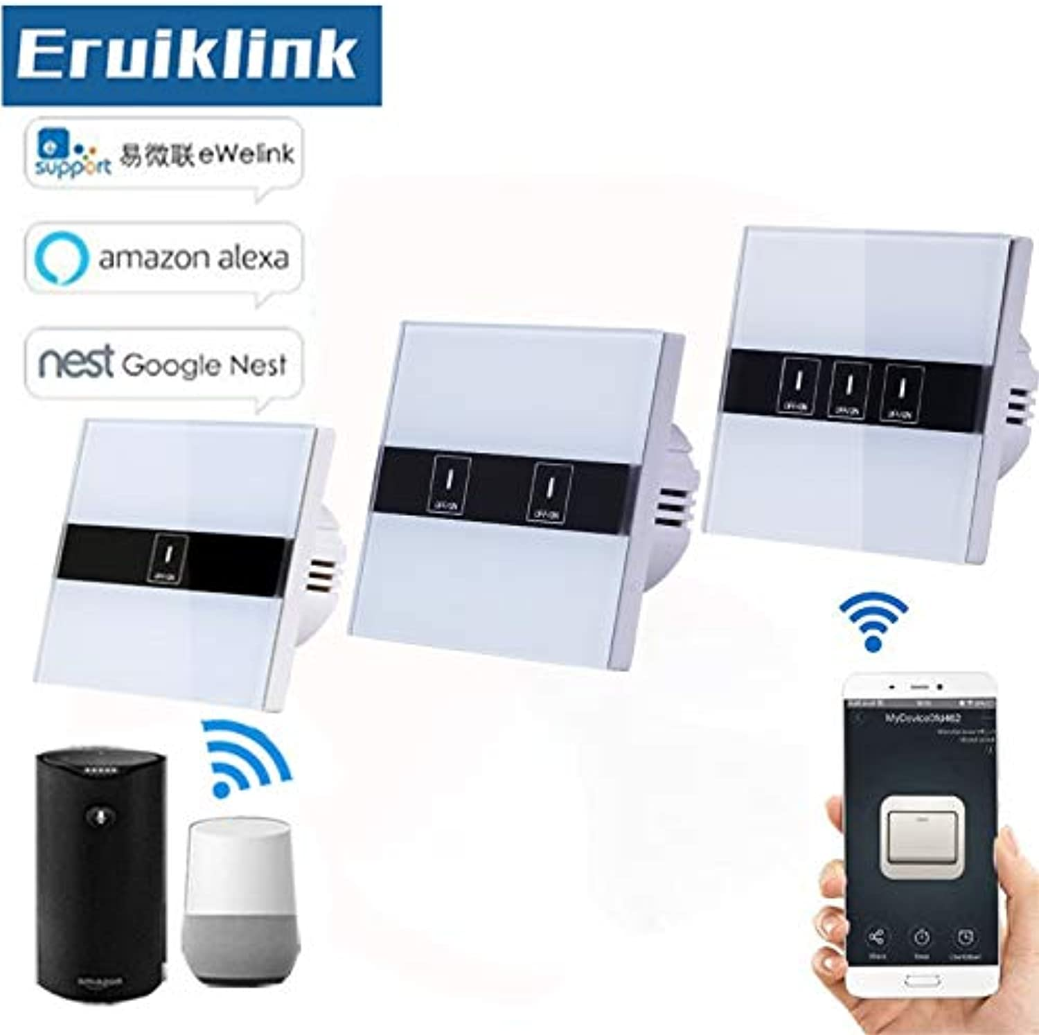 EU Standard WiFi Control Switch,eWelink APP Wireless Control Touch Switch via Android and iOS for Smart Home Wall Light Switch  (color  3 Gang)