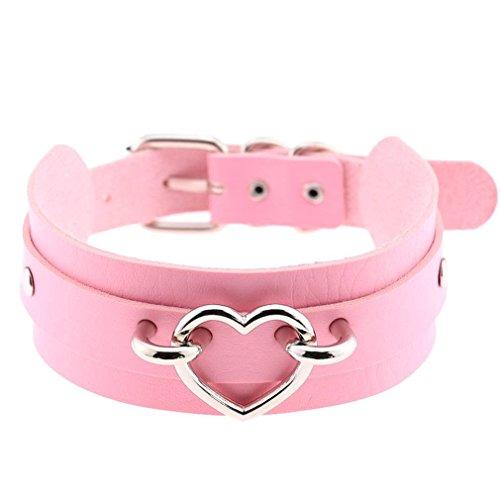 COMVIP Pu Leder Gothic Choker Style Damen Schmuck Halsketten Halsband Tattoo-Kette 41cm Länge/4cm Breite Pink# B