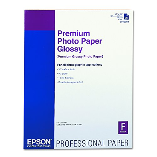 Epson S042092 Premium Photo Paper, 68 lbs., High-Gloss, 17 x 22 (Pack of 25 Sheets),Bright White