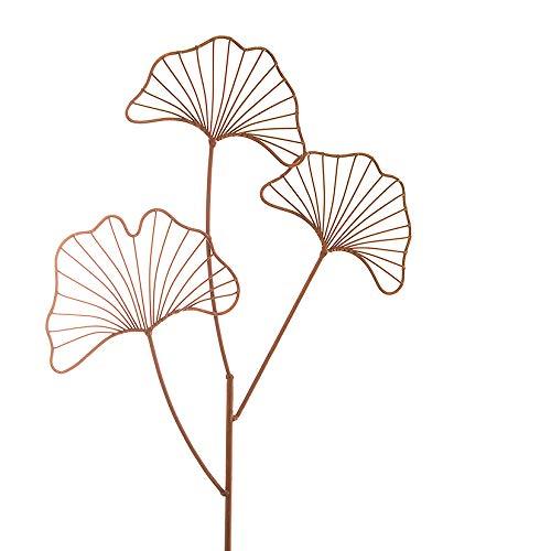 Metall Stecker. Ginkgo. Rost Gartenstecker, Metallstecker, Dekostecker. Edelrost Ginko mit 3 Blatt ca 100 cm. Art.: 73614
