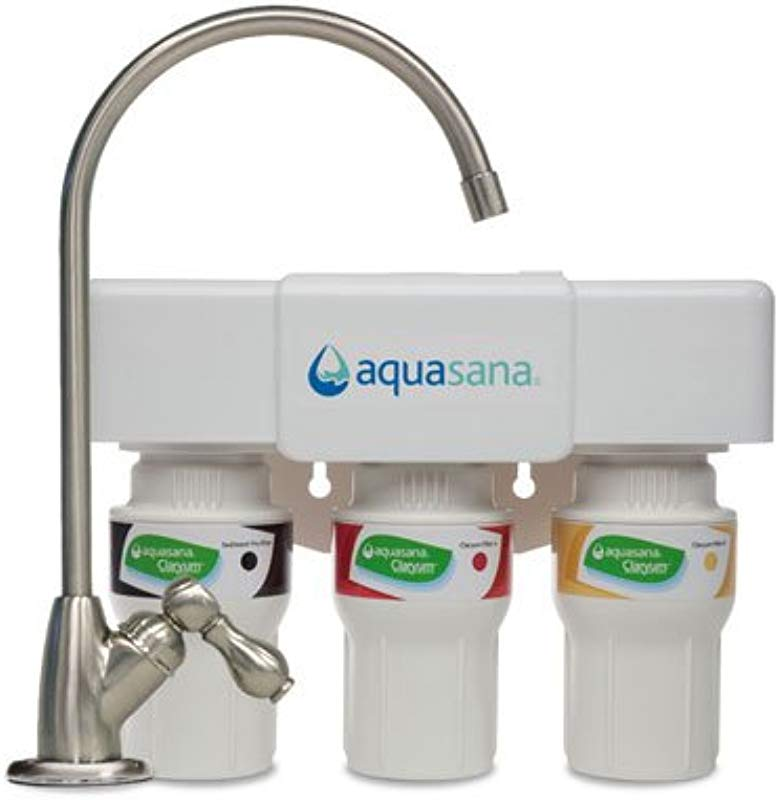 Aquasana 3 Stage Under Counter Water Filter System With Brushed Nickel Faucet