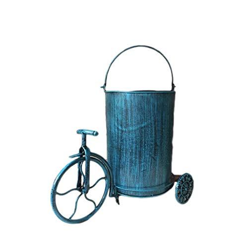 Papelera industrial con forma de triciclo de viento retro, cesta de reciclaje, papelera de metal y hierro, papelera, papelera, cubo de basura de interior (color: azul)