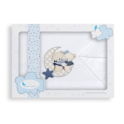 Interbaby Parure pour Berceau 3 Pièces Drap 106 x 82 cm + Drap Dessous 85 x 55 x 9 cm + Coussin 50 x 30 cm Coton Modèle Osito Amoroso B/Bleu