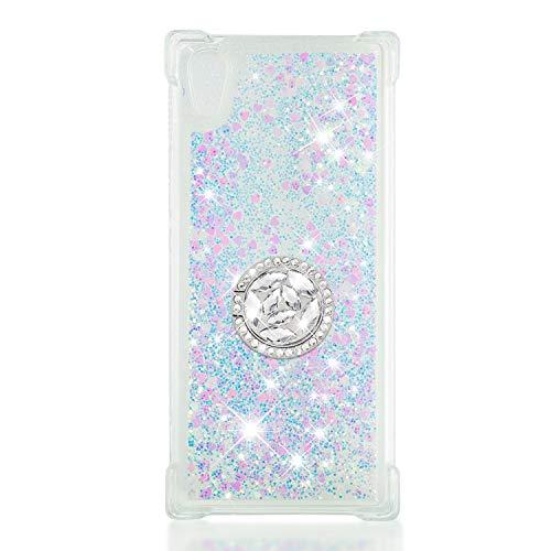 FAWUMAN Coque pour Sony Xperia XA1,Brillante Cristal Diamant Anneau Socle de téléphone Liquide Dégradé Transparente Silicone TPU Étui Antichoc Coques (Couleur)