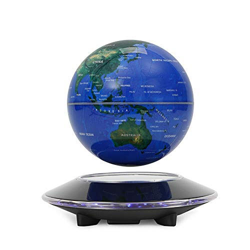 """OUKANING 6"""" Magnetic Levitation Floating Globe 7 Colors LED Light Anti Gravity Rotating World Map with Display Floating Globe for Children Educational Gift Home Office Desk Decoration"""