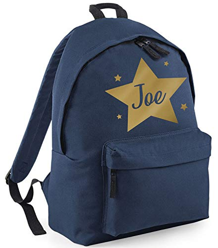 Childrens Personalised Star School Backpack Kids Boys Girls Rucksack, Midnight Navy/Gold Print