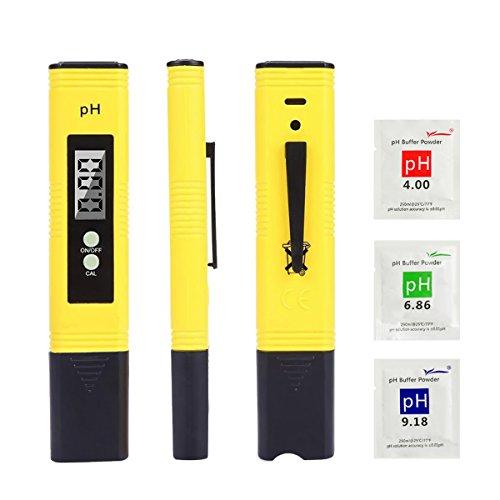 LIUMY pH Messgerät, pH Tester für Wasserqualität mit LCD-Display, tragbarer pH Messer, Monitor für Trinkwasser/Aquarium/Schwimmbad/Labor Wasser(Gelb)
