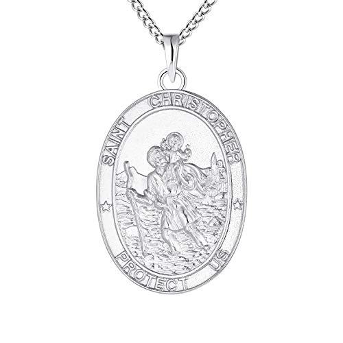 FJ Collier Pendentif Saint Christophe Argent Sterling 925, P